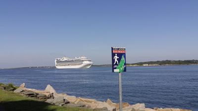 Cruise ship coming up Narragansett Bay