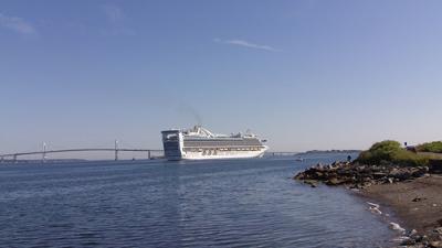Dwarfing the Newport Bridge