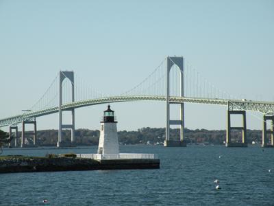 Goat Island Lighthouse and Newport Bridge