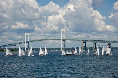 Sailors enjoying a beautiful day in Newport Harbor